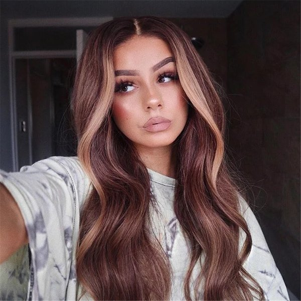 Two Tone Ombre Lace Front Wigs 100% Brazilian Virgin Human Hair Wavy Full Lace Wig With Face Highlight