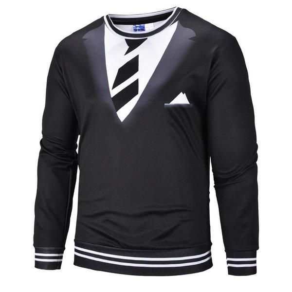 Feitong Brand Spring Sweatshirt For Men Nice Pullover Of Male Fake Two Suits Long Sleeve Guard Digital Print Blouse Sweatshirts