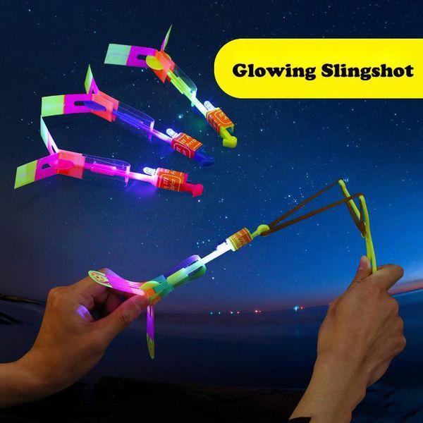 Glowing Slingshot LED flying umbrella Arrow Meteor shower light emitting bamboo dragonfly catapult slingshot flash aircraft led flying toy
