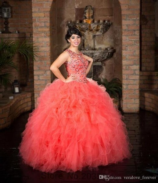 Watermelon Ball Gown Quinceanera Gowns Sweet 16 Gowns Puffy Skirt Tulle Crystal Beaded Coral Pageant Dresses for 15 Year