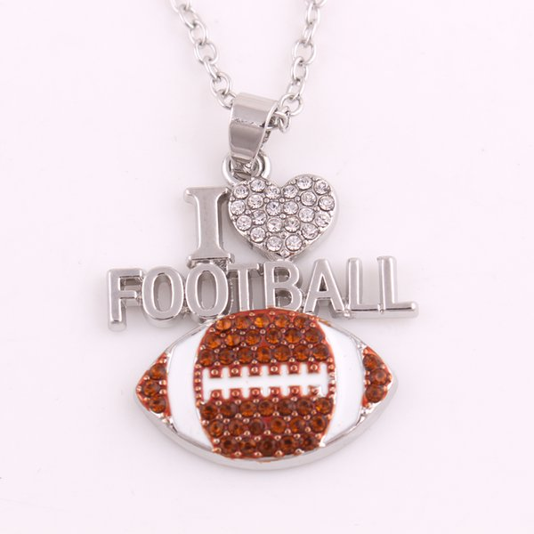 I Love Football Ball Charm Crystal Necklace Sports Men and Women Jewelry for Love Ball Sports People Gift