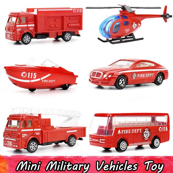 6 Pcs / Set Mini Alliage Camion de lutte contre l'incendie Modèle de voiture Jouets pour enfants en plastique Hélicoptère Fireboat Bus Pocket Diecast Véhicules Cadeaux pour les garçons