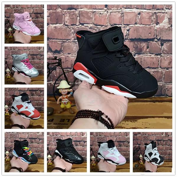 Crianças elegantes Sapatos de Basquete 6 S Sapatilhas para Crianças Calçados Esportivos Juventude Carmine Universidade Azul Gato Preto Tamanho Alternativo Euro 28-35