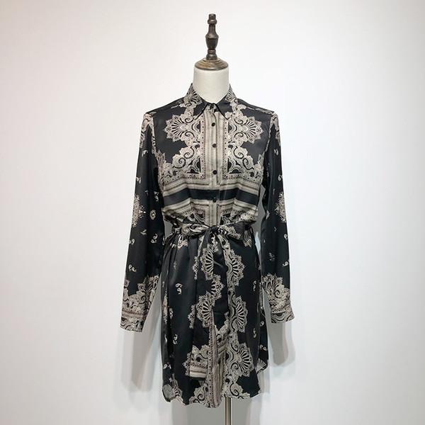 2019 new women's retro fashion baroque print floral long sleeve turn down collar sashes blouse shirt dress S M L