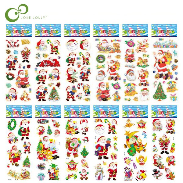 top popular Scrapbooking Bubble Puffy Stickers Merry Christmas Santa Claus Stickers Reward Kids Toys For Children Factory Direct Sales GYH 2019