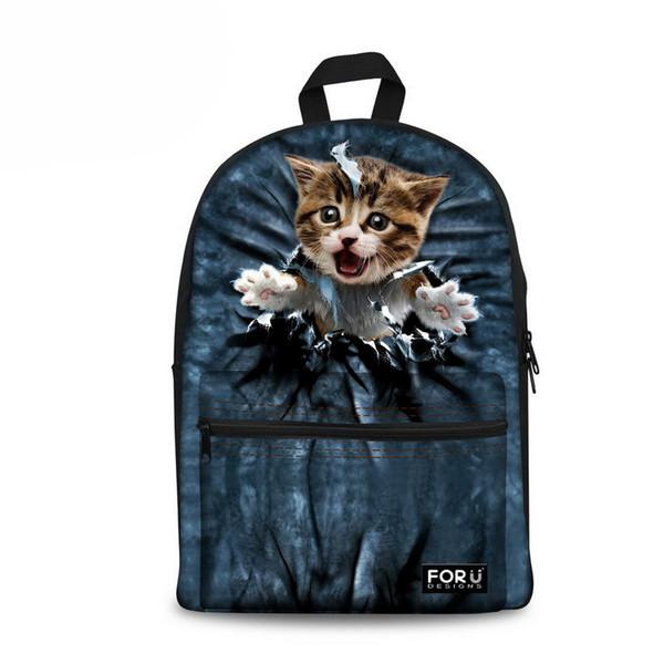 Customized Women Backbag 3D Animal Backpacks Cat Printing School Bagpack for Girls Students Children's School Laptop Backpack