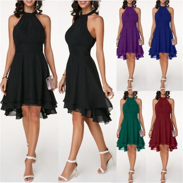WEPBEL Women Dresses Ladies Wedding Party Halter Black Layered Cutout Back  Sleeveless Chiffon Dress Plus Size S 5XL Green Dresses Cheap Summer Dresses  ...