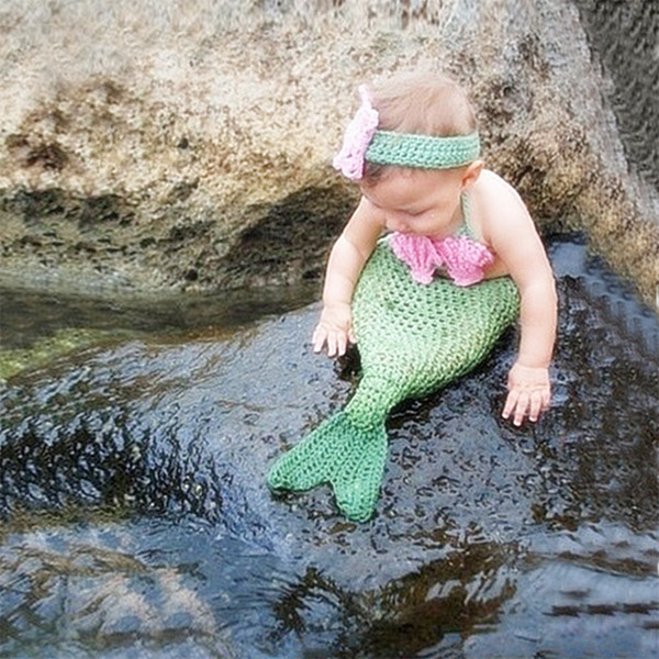 New born photography props mermaid tail with bra headband baby photo accessories newborn costume crochet suit infant picture fotografia prop