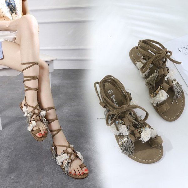 Pretty2019 Bandage Crossing Rome Spelling Color Tassels Flat Bottom Beach Shoes Woman Sandals