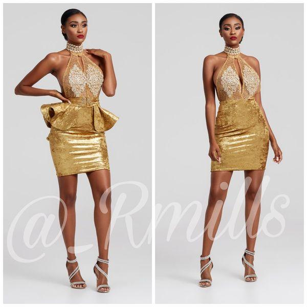 2019 Lüks Altın Kadife Kokteyl Elbiseleri Illusion Keyhole Tasarım Aplike Sequins Parti Balo Abiye Bow Kanat Kısa Etekler