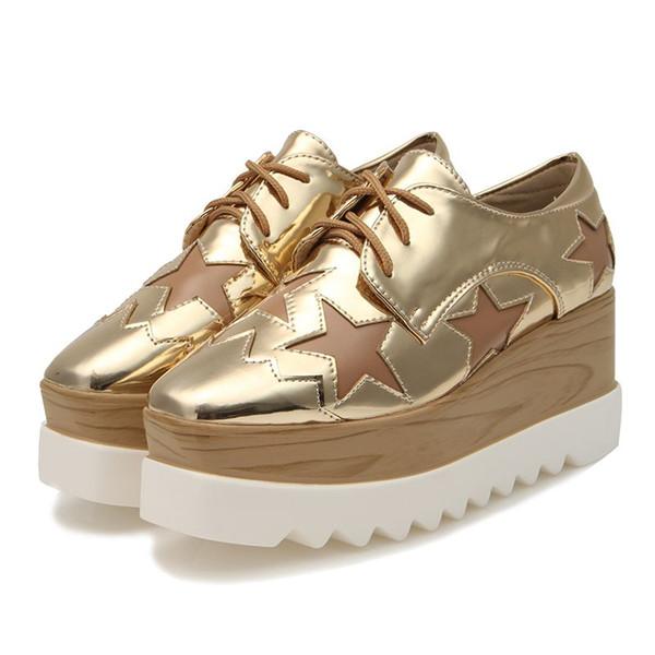 NIS Kadın 5cm Platform Düz Ayakkabı, Gül Altın / Siyah / Altın / Gümüş Yıldız Daireler, Patent Deri Takozlar Ayakkabı, Artan Yükseklik Oxford