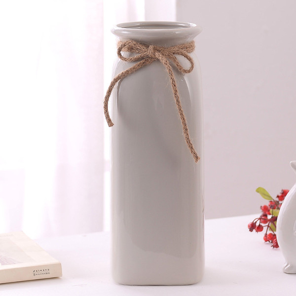 Production of Wholesale Grey Ceramic Vase Three-piece Set with Hemp Rope and Butterfly Knot