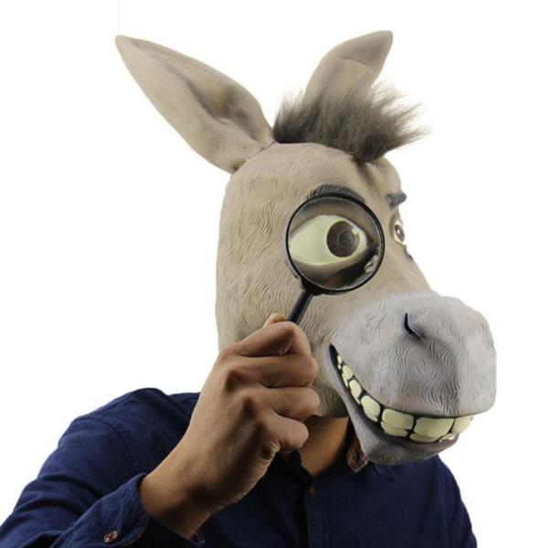 Nuova festa di Halloween divertente asino costume puntelli maschera di protezione materiale lattice ambientale spaventoso fantasma animale sembra carino e divertente tutto il codice