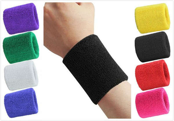 2pcs Sports Sweatband Terry Cloth Wrist Sweat Bands Tennis Squash Badminton Basketball Wristband Gym Crossfit Wrist Wraps GYH