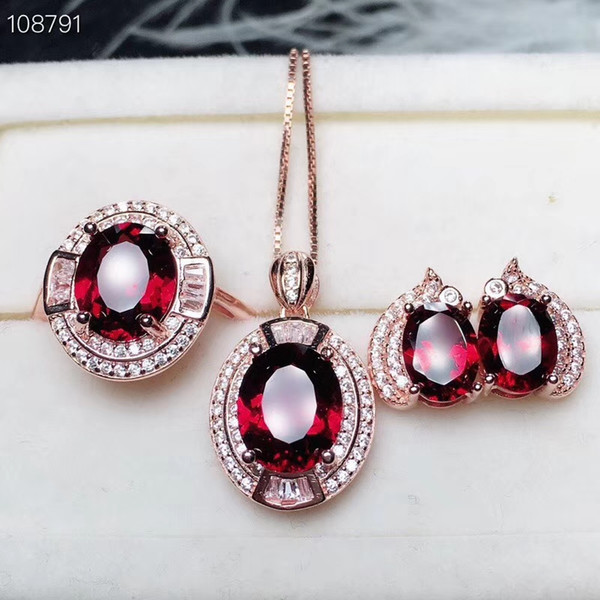 Luxury sunflower Natural red garnet gem Ring Pendant earrings Natural Gemstone Jewelry Set 925 Silver Women party gift jewelry