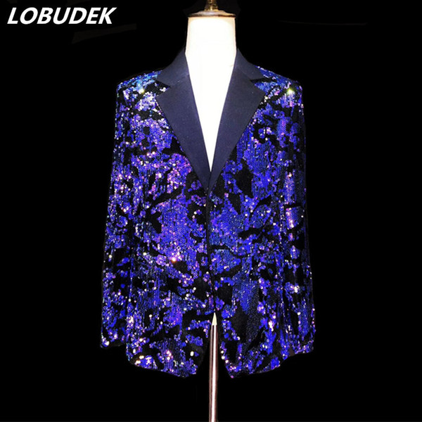 Men Blue Purple Sequins Suit Blazers Glittering paillette Blazers Coat Nightclub Clothing Singer Vocal Concert DS Stage Costume Host Clothes