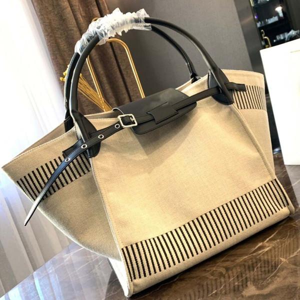 Große Designer-Handtasche 2019 neue Luxus Designer Einkaufstasche hochwertige Leinwand Nähen Frauen Strandtasche