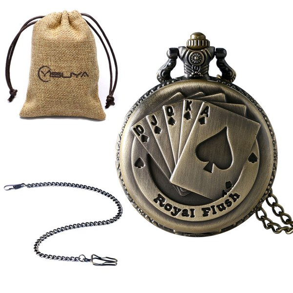 Reloj de bolsillo de la vendimia para los hombres Bronce Cobre Reloj de bolsillo real para Boy Flush Poker Cards Cadena de reloj de bolsillo para adolescentes