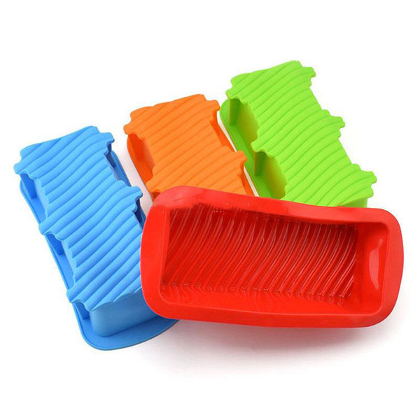 Baking Dishes Silicone Cake Mould Pan Oven Rectangle Mould Silicone Bread Loaf Cake Mold Forms Non Stick 4 Color