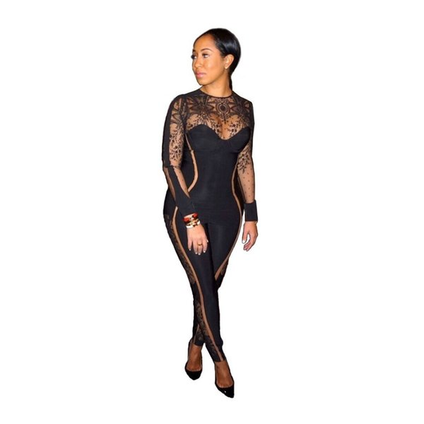 Sexy See Through Print Mesh Jumpsuit for Women High Collar Long Sleeves Bodysuits Soft Stretch Jumpsuits Club Clothes