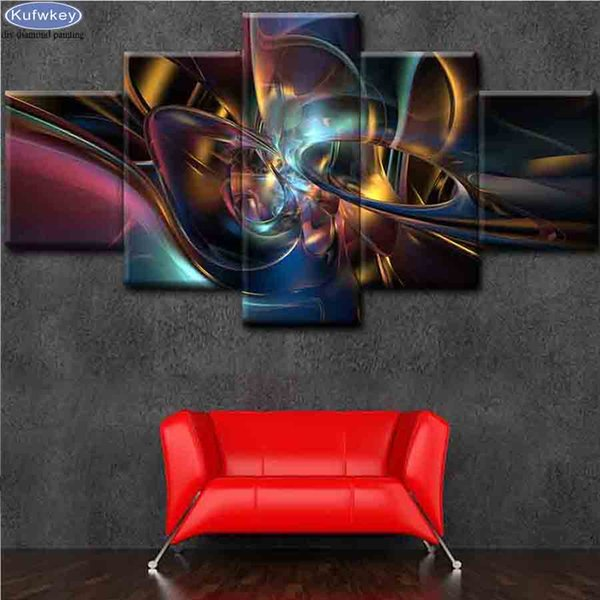 5 PCS Abstract Painting 5D DIY Diamond Painting Multi-Pictures Handmade Gift Full Square Diamond Embroidery Mosaic Patterns