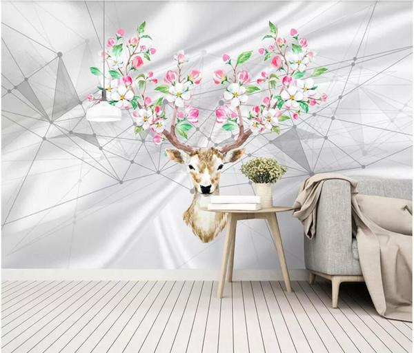 Sala 3D papel tapiz de tela foto personalizada estadounidense minimalista moda pintado a mano cabeza de seda TV TV mural de fondo papel tapiz de pared para paredes 3 d