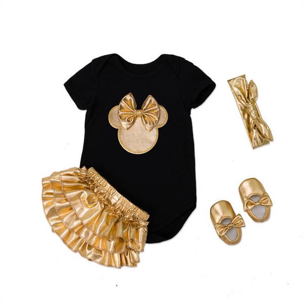 Bebek Kız Giyim Setleri 0-24 Ay Yenidoğan Bebek Tulum Elbiseler Pamuklu Tulum + Altın Fırfır Bloomers Şort + ayakkabı + Kafa = 4 Adet / takım