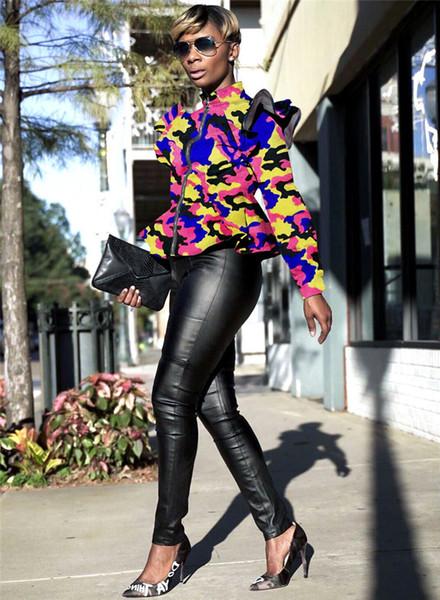 Cappotti Camouflage Designer Womens Stand Collar Long Sleeve Ruffles Coat Primavera Autunno Donna Cappotti