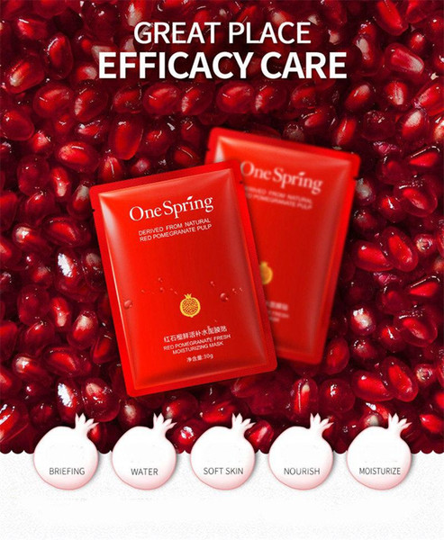 DHL 100pcs OneSpring Red Pomegranate Facial Mask tony moly Moisturising Whitening Mask korean Beauty Masks for Face Sheet Mask Skin Care