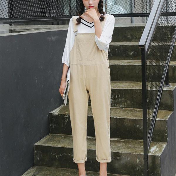 Doces Cor Mulheres Casuais Coreano Moda Doce Sólida Macacão de Algodão Solto Feminino Elegante Senhora Harem Pants