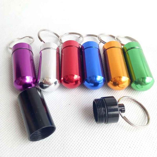 Contenitore in alluminio rotondo per pillola impermeabile Contenitore per bottiglie Contenitore per gioielli Contenitore portachiavi Portachiavi Vaso 48mm / 52mm 7 colori 3 formati scegli