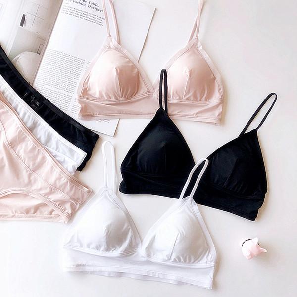3 couleurs noir blanc simple couleur pure soutien-gorge et culotte ensembles lingerie sans fil convient à des jeunes filles confortables bralette mince avec un tampon