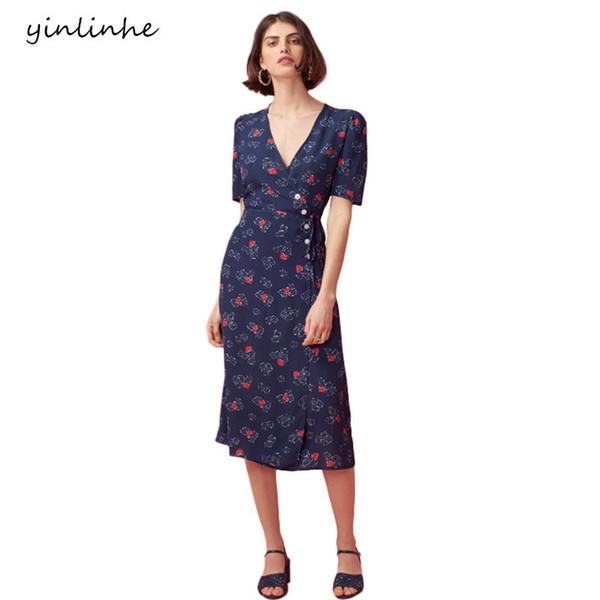 Yinlinhe Verde Floral Verano de manga corta con cuello en V Beach Wrap Dress Mujeres Slim Waist Elegante Botón Midi Vestidos 288 C19042301