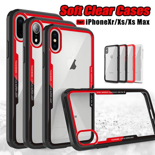 Pour iPhone XS Max iPhone Xr Soft Clear cas TPU couverture arrière téléphone cas Anti Shock pour Samsung NOTE 9 S9