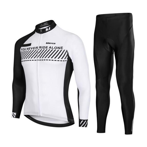 Simple Black White MTB DH Cycling Jersey Set Bicicletta da corsa Camicia maniche lunghe vestito di pantaloni MTB Bicicletta Jersey Primavera