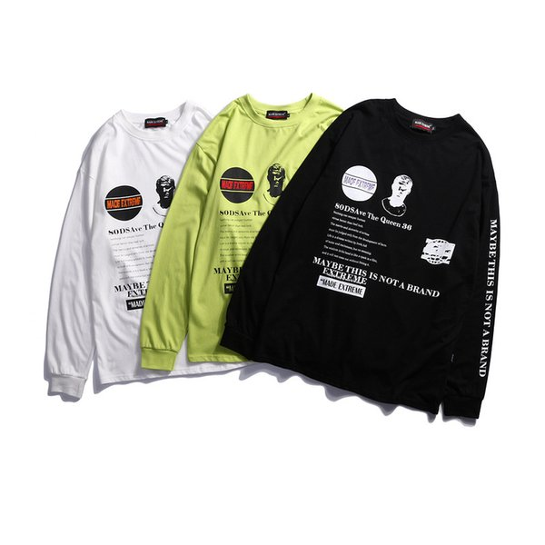Mens Ins Fashion Hot Sell Long Sleeve T-Shirts Letter Print Casual Loose Tee Male Spring Summer Clothing
