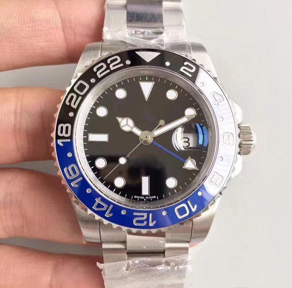 top schwarz blau GMT Keramik Lünette Herren Mechanisch Edelstahl Automatik 2813 Uhrwerk Sport Selbstaufzug Uhren Armbanduhren