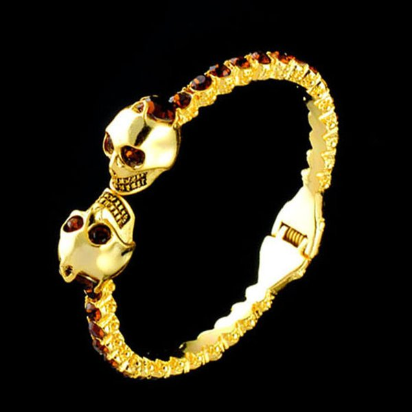 Gold-plated and Silver-plated Open Bracelet with Double Skull Heads and Drills