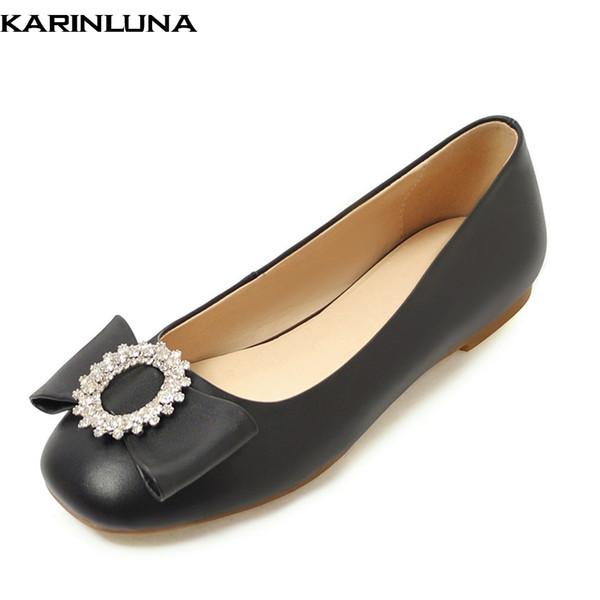 Karinluna moda yeni sıcak Artı boyutu 33-43 yaz flats kadın ayakkabı üzerinde kayma kristaller rahat yumuşak ayakkabı kadın flats kadın