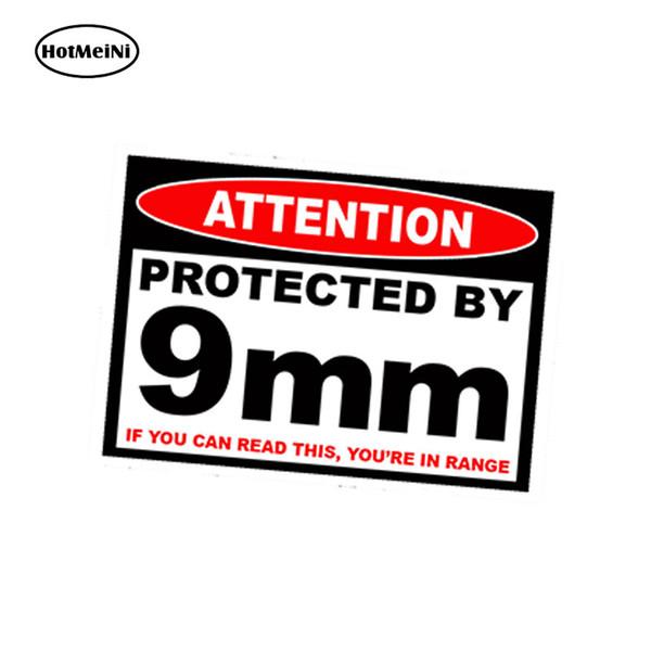 Großhandel 20 teile / los Auto Styling Geschützt 9mm Warnung Aufkleber Pistole Pistole Fall Sicher Munitionskasten 9mm Änderung Auto Aufkleber 13 cm x 9,75 cm