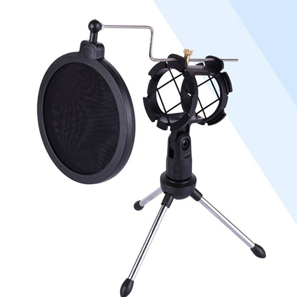 Universal Foldable Adjustable Microphone Stand Desktop Tripod For Computer Video Recording with Mic Windscreen Filter Cover