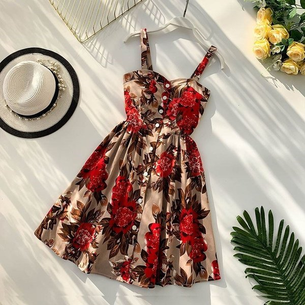 Spaghetti Strap Sexy Dress Sleeveless Women V Neck Summer Dress Vintage Floral Dot Printed Slim A-line Party Dresses Robe