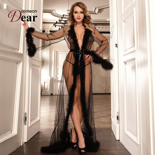 Comeondear Transparent Long Night Robe With Fur Sexy Lace Lingerie Nightwear Erotic Queen Floor-length Robes Sleepwear Rj80759 J190612
