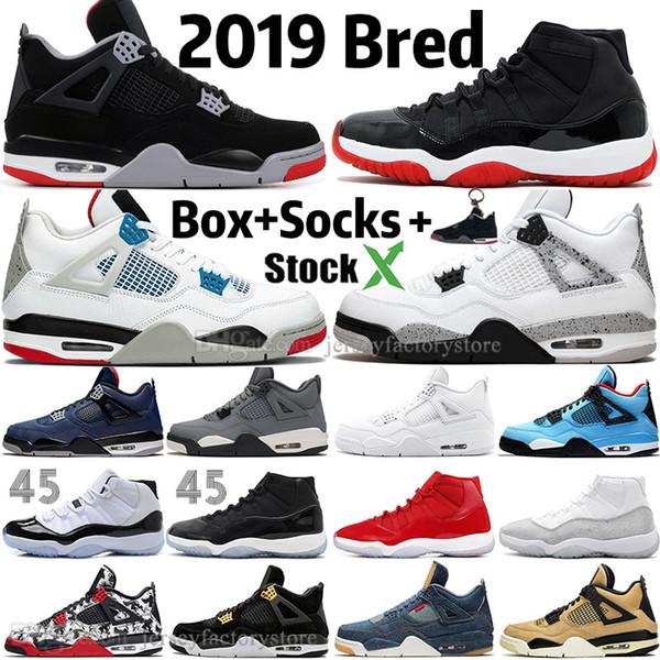 Acheter Nouveau 2019 Bred Blanc Ciment 4 4s Ce Que Le Gris Mens Cool Jack Cactus Chaussures De Basket 11 11s Concord 45 Pur Droits Argent Hommes Sport