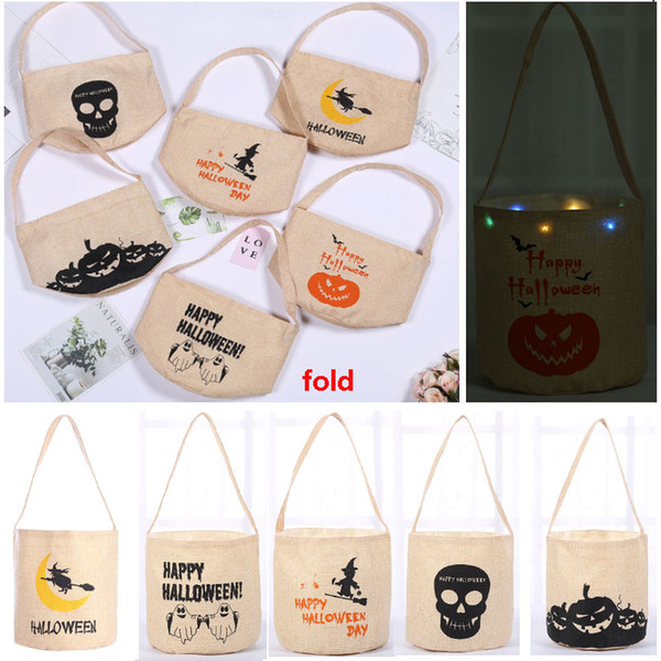 Halloween Candy Bucket Bag Led Night Canvas Handbag Bag Storage Bag For Pumpkin Ghost Skull Party Gift Party Decoration 6 Styles HH9-2314
