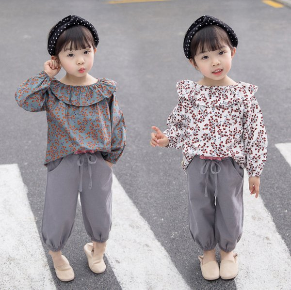 2019 Fall baby girls outfits kids floral printed falbala lapel long sleeve blouse+lace-up Bows elastic pants 2pcs sets baby girl clothes F88