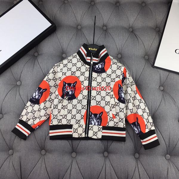Erkek moda Sonbahar ceket çocuklar tasarımcı giyim rahat rüzgarlık ceket kedi kaplı mektup desen tasarım
