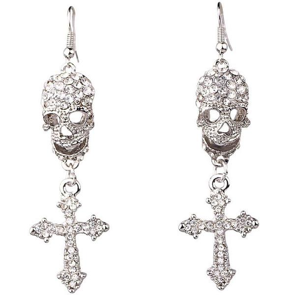 Gioielli moda donna Cranio Orecchini stile croce Strass fatto a mano Cristallo goccia Ciondola Orecchini lunghi per ragazze da donna