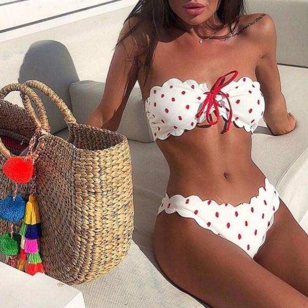 2019 Sexy Strapless Bikini Push Up Swimsuit Swimwear Women Knot Front Biquini Off Shoulder Bikinis Set Bathing Suit Beachwear