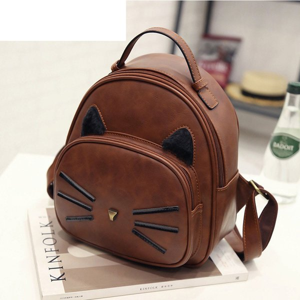 good quality Casual Cat Design Pu Leather Backpack Women Rivet Design Small Backpack With Cute Ear Female Shoulder Bag